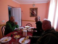 Micheal Roman and Pieter at breakfast