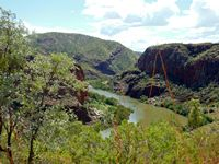 The Ord River just below the dam wall