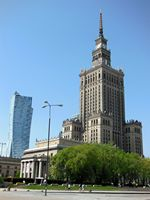 Warsaw, old and new buildings